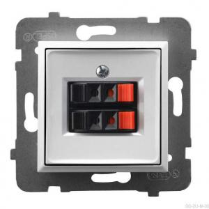 Ospel Aria GG-2U/m/00 - Gniazdo głośnikowe podwójne - Biały - Podgląd zdjęcia producenta