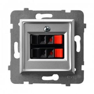 Ospel Aria GG-2U/m/18 - Gniazdo głośnikowe podwójne - Srebro - Podgląd zdjęcia producenta