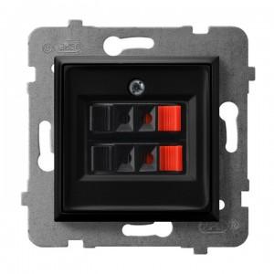 Ospel Aria GG-2U/m/33 - Gniazdo głośnikowe podwójne - Czarny Metalik - Podgląd zdjęcia producenta