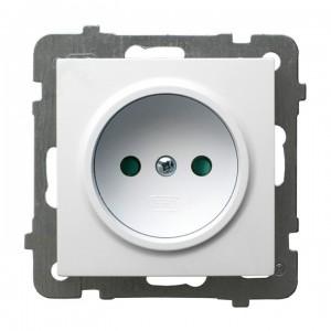 Ospel As GP-1GP/m/00 - Gniazdo pojedyncze z przesłonami torów prądowych - Biały - Podgląd zdjęcia producenta