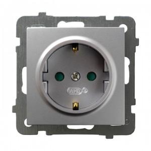 Ospel As GP-1GSP/m/18 - Gniazdo pojedyncze z uziemieniem typu Schuko i przesłonami torów prądowych - Srebro - Podgląd zdjęcia producenta