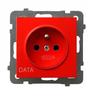 Ospel As GP-1GZD/m/00 - Gniazdo pojedyncze z uziemieniem typu DATA - Czerwony - Podgląd zdjęcia producenta