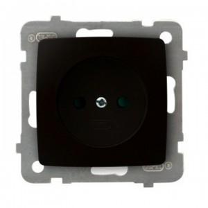 Ospel Karo GP-1SP/m/40 - Gniazdo pojedyncze z przesłonami torów prądowych - Czekoladowy Metalik - Podgląd zdjęcia producenta