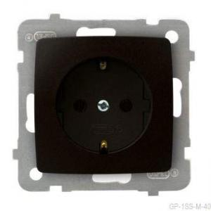 Ospel Karo GP-1SS/m/40 - Gniazdo pojedyncze z uziemieniem typu Schuko - Czekoladowy Metalik - Podgląd zdjęcia producenta