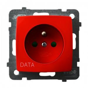 Ospel Karo GP-1SZDP/m/00 - Gniazdo pojedyncze z uziemieniem typu DATA z przesłonami torów prądowych - Czerwony - Podgląd zdjęcia producenta