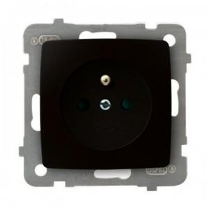 Ospel Karo GP-1SZP/m/40 - Gniazdo pojedyncze z uziemieniem i przesłonami torów prądowych - Czekoladowy Metalik - Podgląd zdjęcia producenta