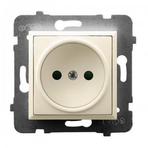 Ospel Aria GP-1UP/m/27 - Gniazdo pojedyncze z przesłonami torów prądowych - Ecru - Podgląd zdjęcia producenta