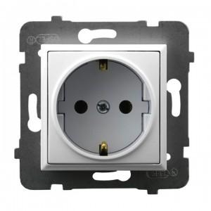 Ospel Aria GP-1US/m/00 - Gniazdo pojedyncze z uziemieniem typu Schuko - Biały - Podgląd zdjęcia producenta
