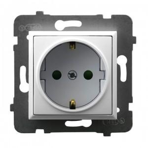 Ospel Aria GP-1USP/m/00 - Gniazdo pojedyncze z uziemieniem typu Schuko i przesłonami torów prądowych - Biały - Podgląd zdjęcia producenta