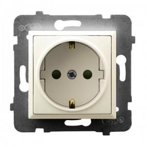 Ospel Aria GP-1USP/m/27 - Gniazdo pojedyncze z uziemieniem typu Schuko i przesłonami torów prądowych - Ecru - Podgląd zdjęcia producenta