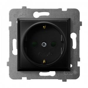 Ospel Aria GP-1USP/m/33 - Gniazdo pojedyncze z uziemieniem typu Schuko i przesłonami torów prądowych - Czarny Metalik - Podgląd zdjęcia producenta
