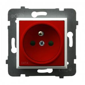 Ospel Aria GP-1UZDP/m/00/22 - Gniazdo pojedyncze z uziemieniem typu DATA i przesłonami torów prądowych - Czerwony - Podgląd zdjęcia producenta