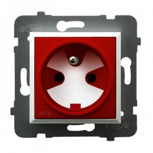 Ospel Aria GP-1UZK/m/00/22 - Gniazdo pojedyncze z uziemieniem typu DATA i kluczem uprawniającym w zestawie - Czerwony - Podgląd zdjęcia producenta