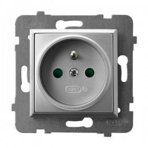Ospel Aria GP-1UZP/m/18 - Gniazdo pojedyncze z uziemieniem z przesłonami torów prądowych - Srebro - Podgląd zdjęcia producenta