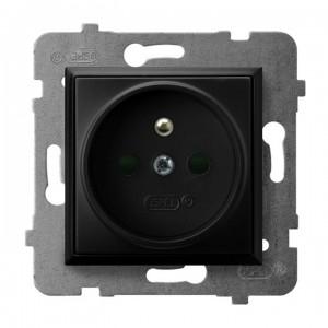 Ospel Aria GP-1UZP/m/33 - Gniazdo pojedyncze z uziemieniem z przesłonami torów prądowych - Czarny Metalik - Podgląd zdjęcia producenta
