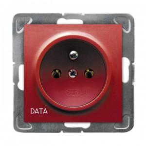 Ospel Impresja GP-1YZD/m/00 - Gniazdo pojedyncze z uziemieniem typu DATA - Czerwony - Podgląd zdjęcia producenta