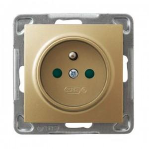 Ospel Impresja GP-1YZP/m/28 - Gniazdo pojedyncze z uziemieniem i przesłonami torów prądowych - Złoty Metalik - Podgląd zdjęcia producenta
