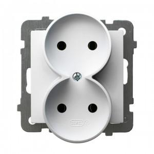 Ospel As GP-2GR/m/00 - Gniazdo podwójne - Biały - Podgląd zdjęcia producenta