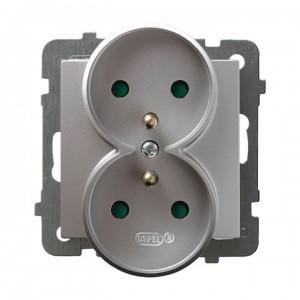 Ospel As GP-2GRZP/m/18 - Gniazdo podwójne z uziemieniem i przesłonami torów prądowych - Srebro - Podgląd zdjęcia producenta