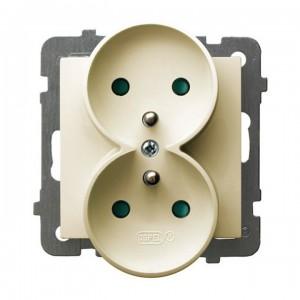 Ospel As GP-2GRZP/m/27 - Gniazdo podwójne z uziemieniem i przesłonami torów prądowych - Ecru - Podgląd zdjęcia producenta