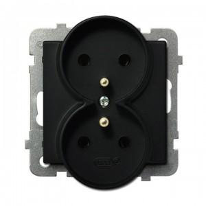 Ospel Sonata GP-2RRZ/m/33 - Gniazdo podwójne z uziemieniem - Czarny Metalik - Podgląd zdjęcia producenta