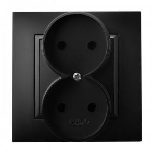 Ospel Aria GP-2U/33 - Gniazdo podwójne (Gniazdo kompletne, nie pasujące do ramek!) - Czarny Metalik - Podgląd zdjęcia producenta