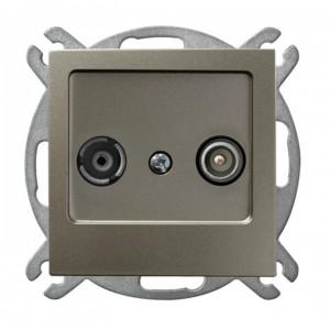 Ospel As GPA-10GP/m/45 - Gniazdo RTV przelotowe 10-dB - Satyna Light - Podgląd zdjęcia producenta