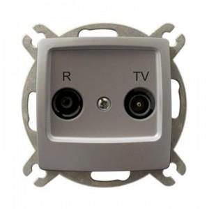 Ospel Karo GPA-10SP/m/43 - Gniazdo RTV przelotowe 10-dB - Srebrny Perłowy - Podgląd zdjęcia producenta