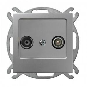 Ospel As GPA-14GP/m/18 - Gniazdo RTV przelotowe 14-dB - Srebro - Podgląd zdjęcia producenta