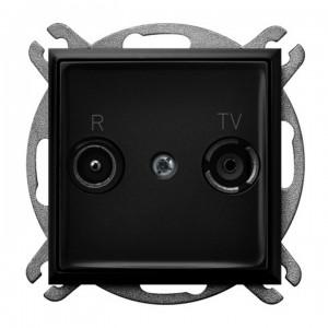 Ospel Aria GPA-14UP/m/33 - Gniazdo RTV przelotowe 14-dB - Czarny Metalik - Podgląd zdjęcia producenta