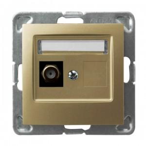 Ospel Impresja GPA-1YF/m/28 - Gniazdo antenowe typu F pojedyncze - Złoty Metalik - Podgląd zdjęcia producenta