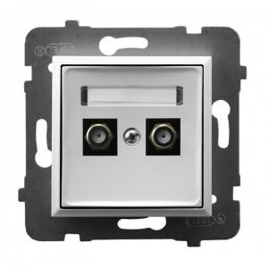 Ospel Aria GPA-2UF/m/00 - Gniazdo antenowe typu F podwójne - Biały - Podgląd zdjęcia producenta