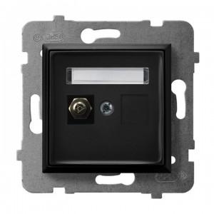 Ospel Aria GPE-1U/m/33 - Gniazdo ekwipotencjalne pojedyncze - Czarny Metalik - Podgląd zdjęcia producenta