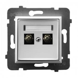 Ospel Aria GPE-2U/m/00 - Gniazdo ekwipotencjalne podwójne - Biały - Podgląd zdjęcia producenta