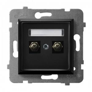 Ospel Aria GPE-2U/m/33 - Gniazdo ekwipotencjalne podwójne - Czarny Metalik - Podgląd zdjęcia producenta
