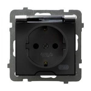 Ospel As GPH-1GS/m/18/d - Gniazdo bryzgoszczelne z uziemieniem typu Schuko IP-44 wieczko przezroczyste - Srebro - Podgląd zdjęcia producenta