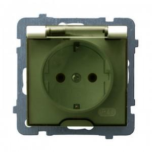 Ospel As GPH-1GS/m/27/d - Gniazdo bryzgoszczelne z uziemieniem typu Schuko IP-44 wieczko przezroczyste - Ecru - Podgląd zdjęcia producenta