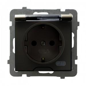Ospel As GPH-1GS/m/45/d - Gniazdo bryzgoszczelne z uziemieniem typu Schuko IP-44 wieczko przezroczyste - Satyna Light - Podgląd zdjęcia producenta