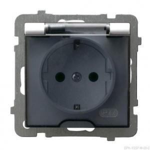 Ospel As GPH-1GSP/m/00/d - Gniazdo bryzgoszczelne z uziemieniem typu Schuko IP-44 z przesłonami torów prądowych wieczko przezroczyste - Biały - Podgląd zdjęcia producenta