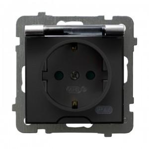 Ospel As GPH-1GSP/m/18/d - Gniazdo bryzgoszczelne z uziemieniem typu Schuko IP-44 z przesłonami torów prądowych wieczko przezroczyste - Srebro - Podgląd zdjęcia producenta