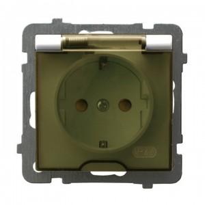 Ospel As GPH-1GSP/m/27/d - Gniazdo bryzgoszczelne z uziemieniem typu Schuko IP-44 z przesłonami torów prądowych wieczko przezroczyste - Ecru - Podgląd zdjęcia producenta