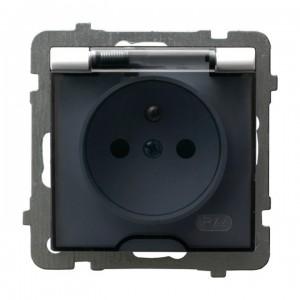 Ospel As GPH-1GZ/m/00/d - Gniazdo bryzgoszczelne z uziemieniem IP-44 wieczko przezroczyste - Biały - Podgląd zdjęcia producenta