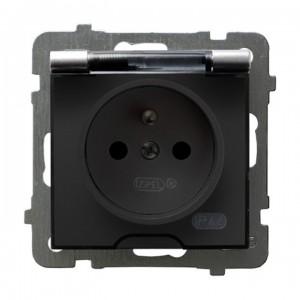 Ospel As GPH-1GZ/m/18/d - Gniazdo bryzgoszczelne z uziemieniem IP-44 wieczko przezroczyste - Srebro - Podgląd zdjęcia producenta