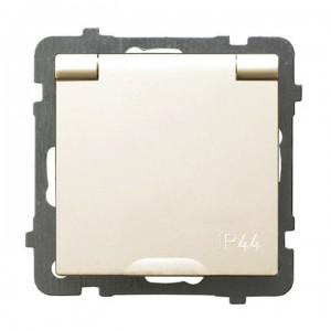Ospel As GPH-1GZ/m/27/w - Gniazdo bryzgoszczelne z uziemieniem IP-44 wieczko w kolorze wyrobu - Ecru - Podgląd zdjęcia producenta