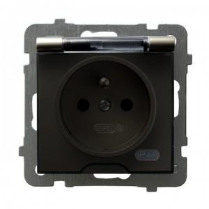 Ospel As GPH-1GZ/m/45/d - Gniazdo bryzgoszczelne z uziemieniem IP-44 wieczko przezroczyste - Satyna Light - Podgląd zdjęcia producenta