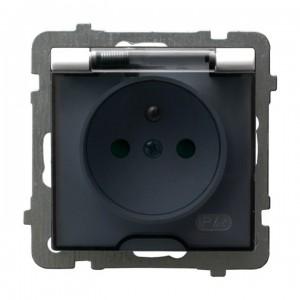 Ospel As GPH-1GZP/m/00/d - Gniazdo bryzgoszczelne z uziemieniem IP-44 z przesłonami torów prądowych wieczko przezroczyste - Biały - Podgląd zdjęcia producenta