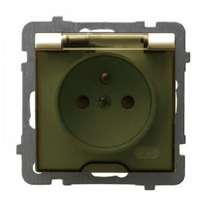 Ospel As GPH-1GZP/m/27/d - Gniazdo bryzgoszczelne z uziemieniem IP-44 z przesłonami torów prądowych wieczko przezroczyste - Ecru - Podgląd zdjęcia producenta