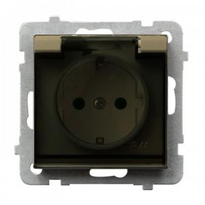 Ospel Sonata GPH-1RSP/m/39/d - Gniazdo bryzgoszczelne z uziemieniem schuko IP-44 z przesłonami torów prądowych wieczko przezroczyste - Szampański Złoty - Podgląd zdjęcia producenta
