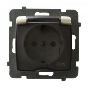 Ospel Karo GPH-1SS/m/42/d - Gniazdo bryzgoszczelne z uziemieniem typu Schuko IP-44 wieczko przezroczyste - Ecru perłowy - Podgląd zdjęcia producenta