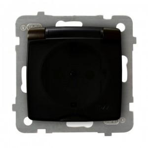 Ospel Karo GPH-1SSP/m/40/d - Gniazdo bryzgoszczelne z uziemieniem typu Schuko IP-44 i przesłonami torów prądowych wieczko przezroczyste - Czekoladowy Metalik - Podgląd zdjęcia producenta